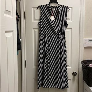 Anne Klein black & white stripe dress 2X NWT